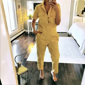 Madewell muted yellow utility style jumpsuit small